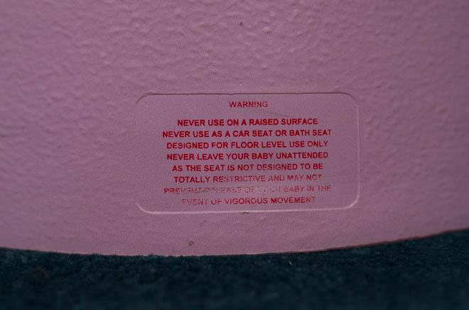 Warnings on Bumbo seat