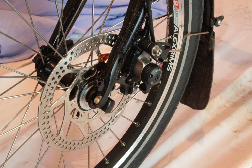 Avid BB7 cable actuated brakes acting on a potentially slightly small disc.