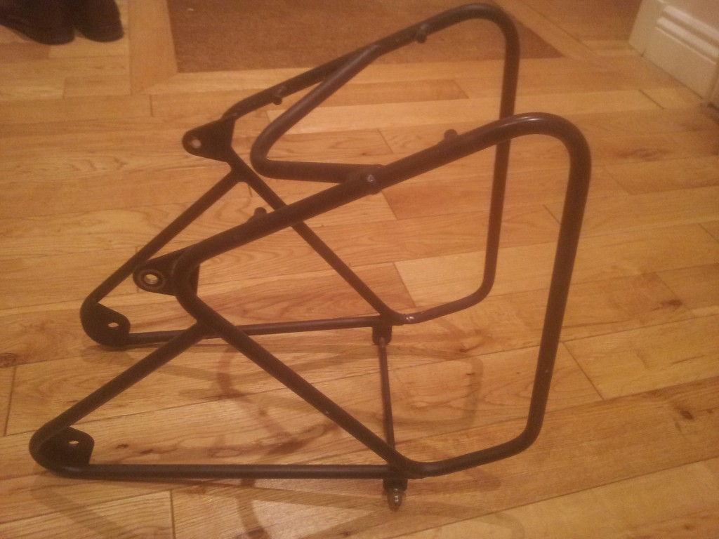 A picture of the rack detached from the bike. The bottom horizontal strut is removable to allow you to actually fit the thing to the bike.