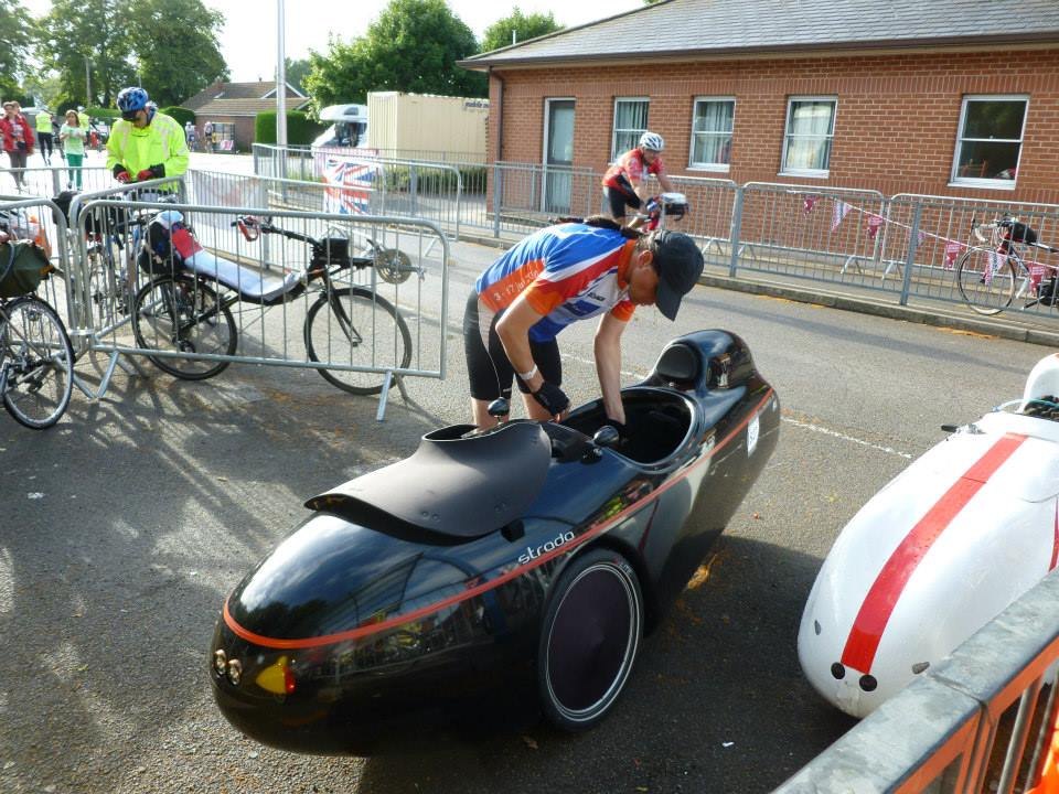 Think it was this velomobile I briefly hung onto. There were a good number, mainly variants of Quests, but also the odd Milan and something I'm pretty sure was homemade. Photo by Lee Wakefield, click for his full Facebook album