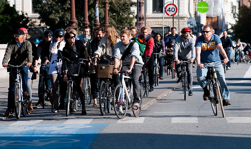 A fairly standard gathering of cyclists in Copenhagen. Couple of helmets. Most without. Note both the absence of spontaneous death and how healthy everyone looks. Photo from Wikipedia - click for licensing.