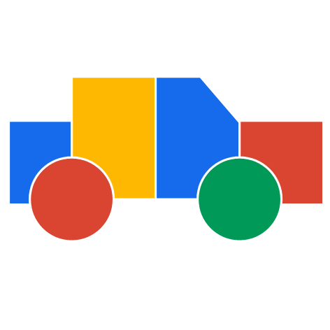 Styalised image of a car in Google's colours