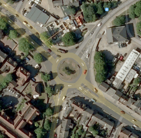 Satellite view of the Union St roundabout