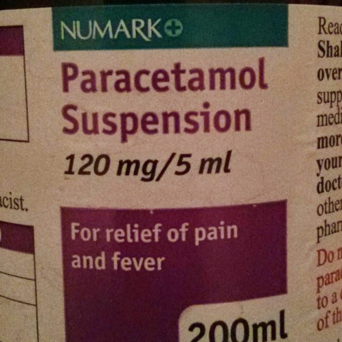 Bottle of paracetamol suspension