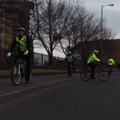Glasgow police cycling on the pavement