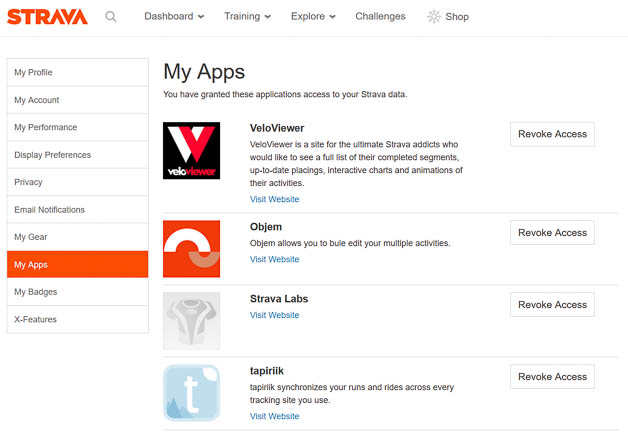 Strava My Apps menu