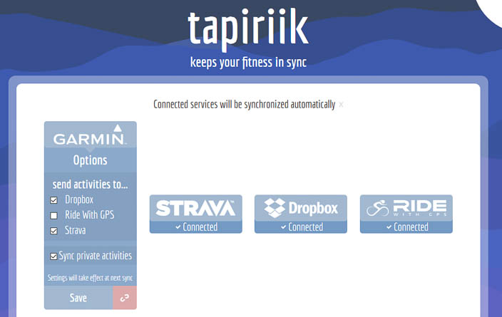 Tapiriik reconfigure options