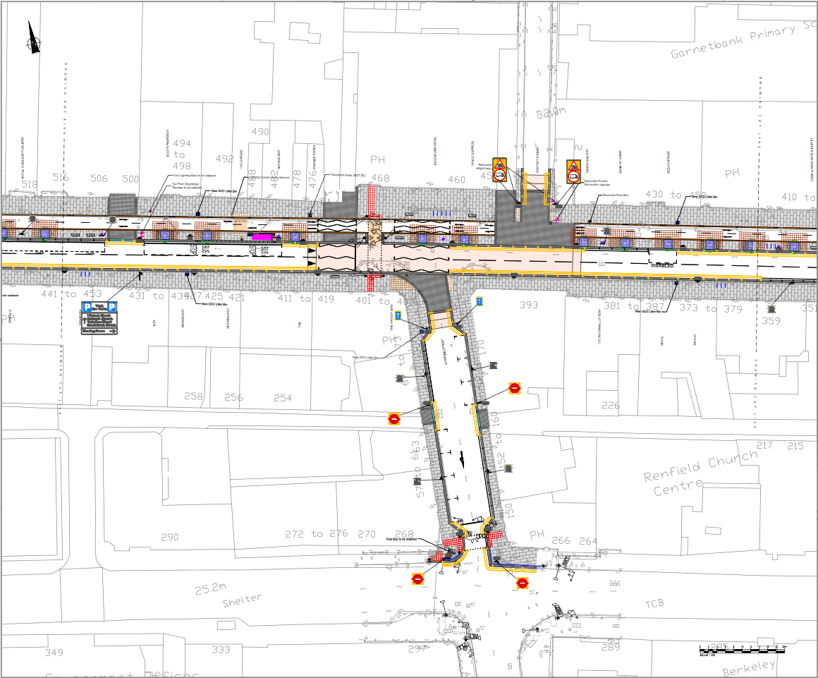Sauchiehall Street regeneration drawing west